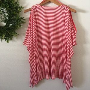 Michael Kors Red/White Stripe Cape Style Top